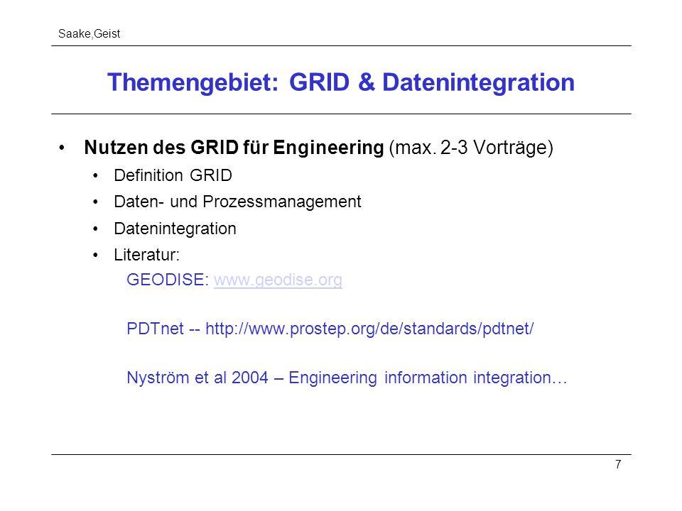 Saake,Geist 7 Themengebiet: GRID & Datenintegration Nutzen des GRID für Engineering (max. 2-3 Vorträge) Definition GRID Daten- und Prozessmanagement D