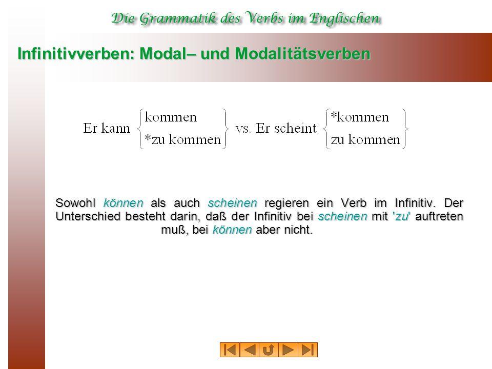 Infinitivverben: Modal– und Modalitätsverben Sowohl können als auch scheinen regieren ein Verb im Infinitiv.
