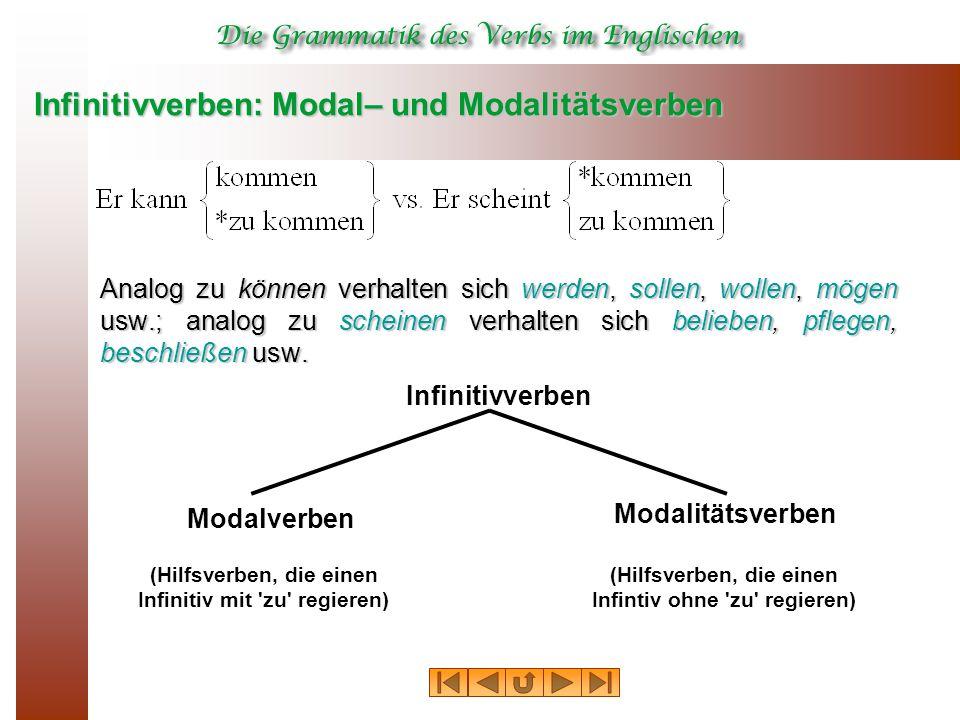 Infinitivverben: Modal– und Modalitätsverben Analog zu können verhalten sich werden, sollen, wollen, mögen usw.; analog zu scheinen verhalten sich belieben, pflegen, beschließen usw.