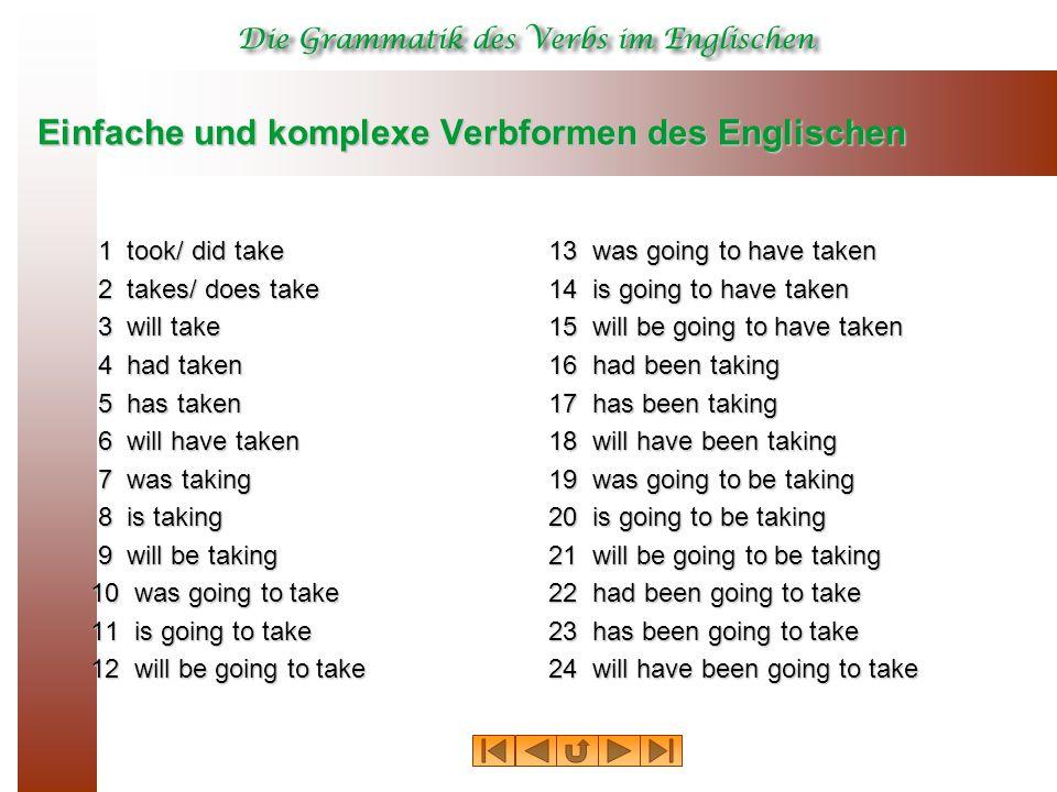 Einfache und komplexe Verbformen des Englischen 1 took/ did take 1 took/ did take 2 takes/ does take 2 takes/ does take 3 will take 3 will take 4 had