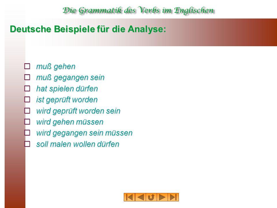 Deutsche Beispiele für die Analyse:  muß gehen  muß gegangen sein  hat spielen dürfen  ist geprüft worden  wird geprüft worden sein  wird gehen müssen  wird gegangen sein müssen  soll malen wollen dürfen