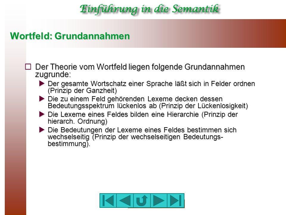 Wortfeld: Grundannahmen  Der Theorie vom Wortfeld liegen folgende Grundannahmen zugrunde:  Der gesamte Wortschatz einer Sprache läßt sich in Felder