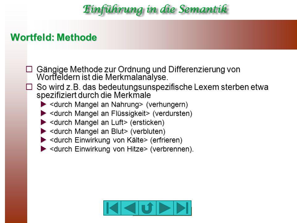 Wortfeld: Methode  Gängige Methode zur Ordnung und Differenzierung von Wortfeldern ist die Merkmalanalyse.  So wird z.B. das bedeutungsunspezifische