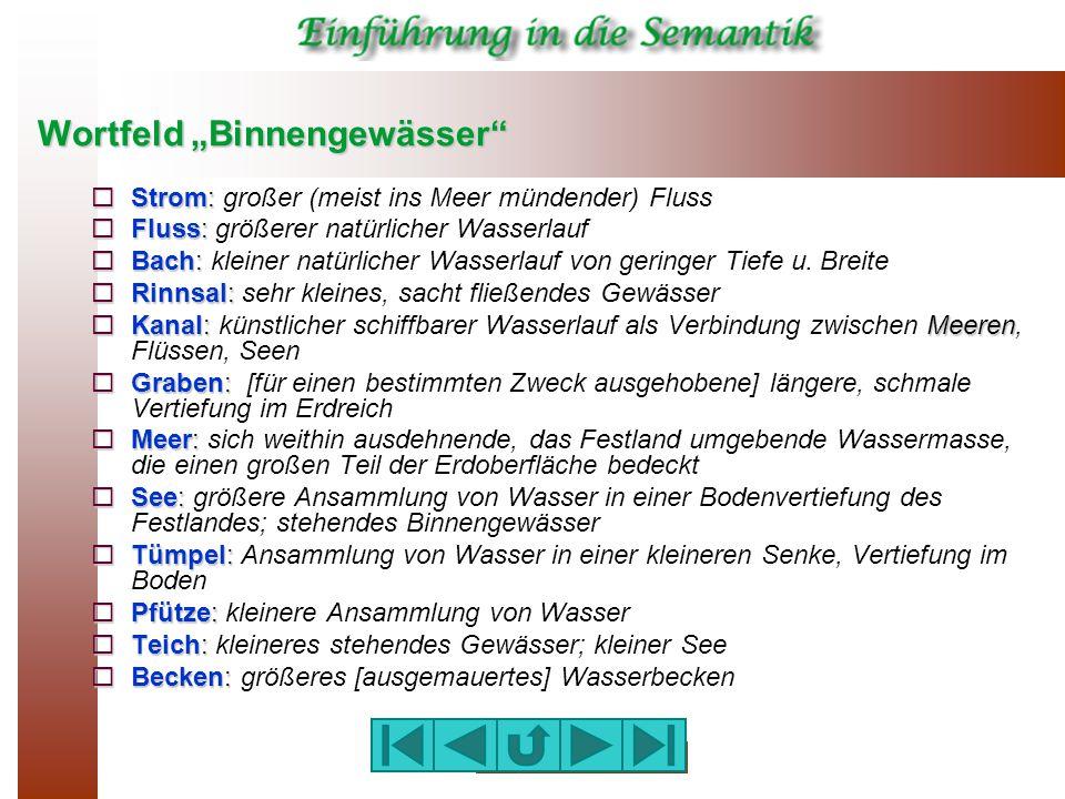 """Wortfeld """"Binnengewässer""""  Strom:  Strom: großer (meist ins Meer mündender) Fluss  Fluss:  Fluss: größerer natürlicher Wasserlauf  Bach:  Bach:"""