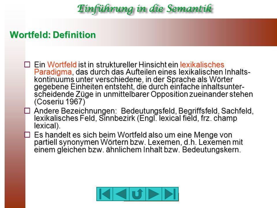 Wortfeld: Definition  Ein Wortfeld ist in struktureller Hinsicht ein lexikalisches Paradigma, das durch das Aufteilen eines lexikalischen Inhalts- ko