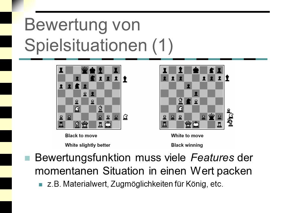 Bewertung von Spielsituationen (2) Typische Bewertungs-Funktion: Gewichtete Linearkombination von Features Was sind Features.