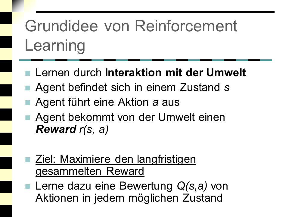 """Rewards Rewards geben an, wie """"gut die gewählte Aktion war Beispiele (aus dem täglichen Leben): Herdplatte: Kind greift auf heiße Herdplatte Stark negativer """"Reward Dressur: Hund apportiert geworfenen Stock Belohnung durch Herrchen: positiver """"Reward Beispiele (aus der KI): Spielende: Spieler gewinnt / verliert das Spiel Je nach Ausgang positiver / negativer Reward Roboter erreicht sein Ziel / fährt gegen ein Hindernis Positiv / Negativ"""