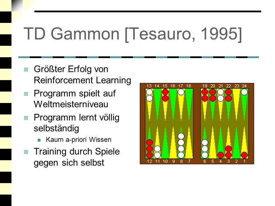 TD Gammon: Technik (1) Evaluation Function Wird durch Neuronales Netzwerk dargestellt NN gibt die Gewinn- Wahrscheinlichkeit für jede Position an Kurze ExpectiMiniMax- Suche (2 plies) Input – Repräsentation binäre Darstellung der momentanen Brettsituation Später: komplexere Backgammon-Features