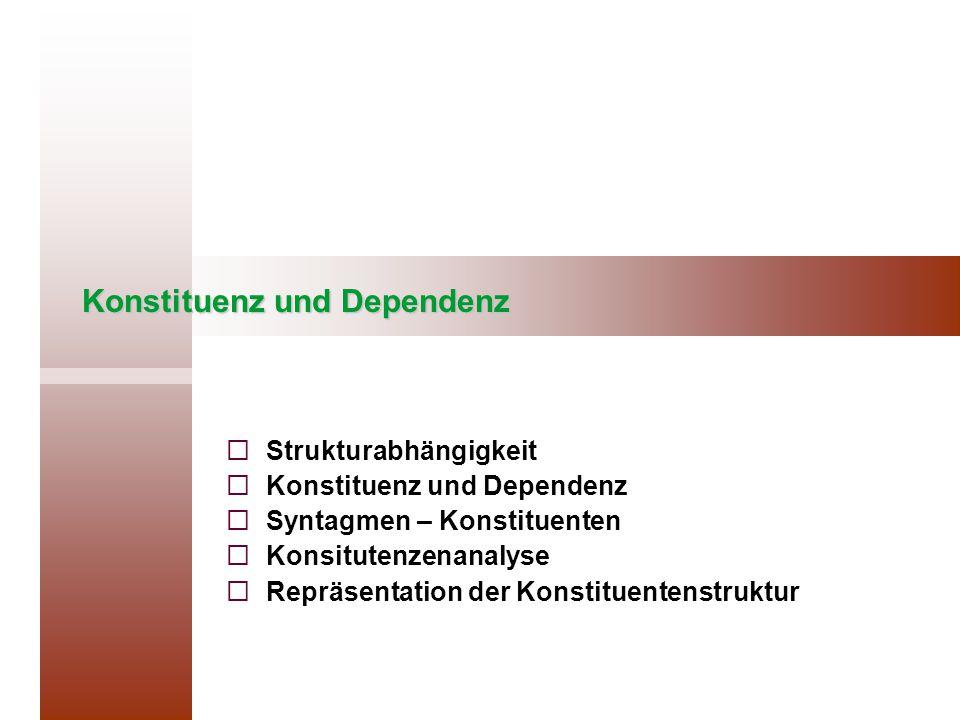 Konstituenz und Dependenz   Strukturabhängigkeit   Konstituenz und Dependenz   Syntagmen – Konstituenten   Konsitutenzenanalyse   Repräsenta