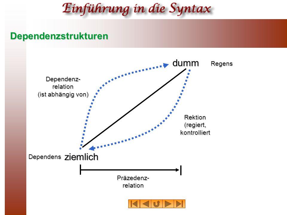 Dependenzstrukturen dumm ziemlich Dependens Regens Dependenz- relation (ist abhängig von) Rektion (regiert, kontrolliert Präzedenz- relation