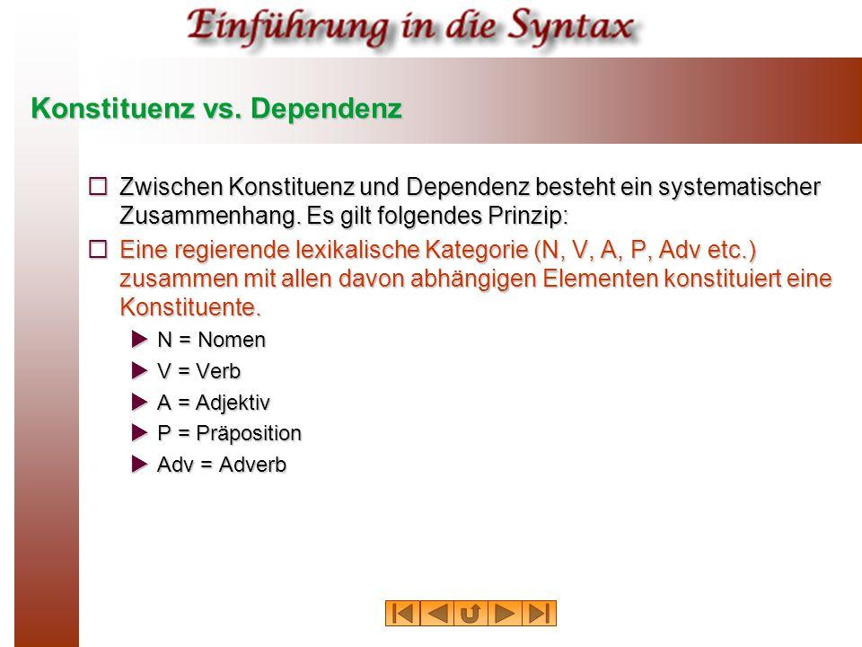 Konstituenz vs. Dependenz  Zwischen Konstituenz und Dependenz besteht ein systematischer Zusammenhang. Es gilt folgendes Prinzip:  Eine regierende l