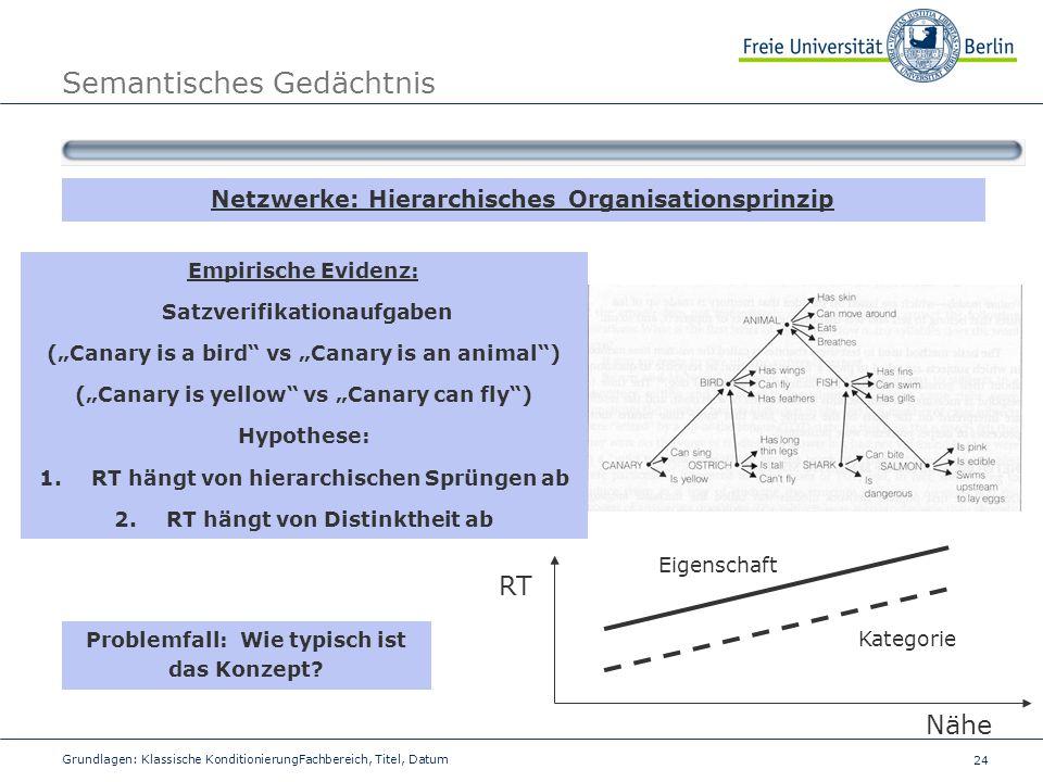 24 Grundlagen: Klassische KonditionierungFachbereich, Titel, Datum Semantisches Gedächtnis Netzwerke: Hierarchisches Organisationsprinzip Empirische E