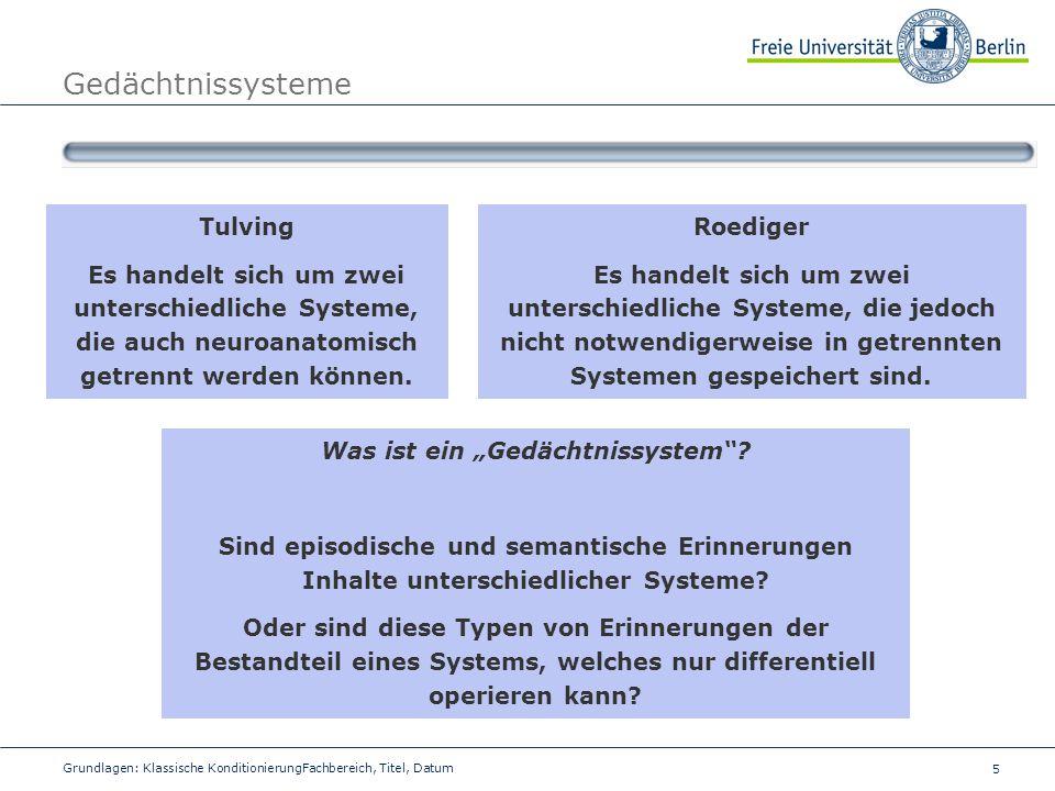 5 Grundlagen: Klassische KonditionierungFachbereich, Titel, Datum Gedächtnissysteme Tulving Es handelt sich um zwei unterschiedliche Systeme, die auch