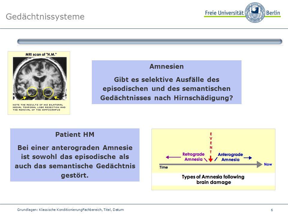 6 Grundlagen: Klassische KonditionierungFachbereich, Titel, Datum Gedächtnissysteme Amnesien Gibt es selektive Ausfälle des episodischen und des seman