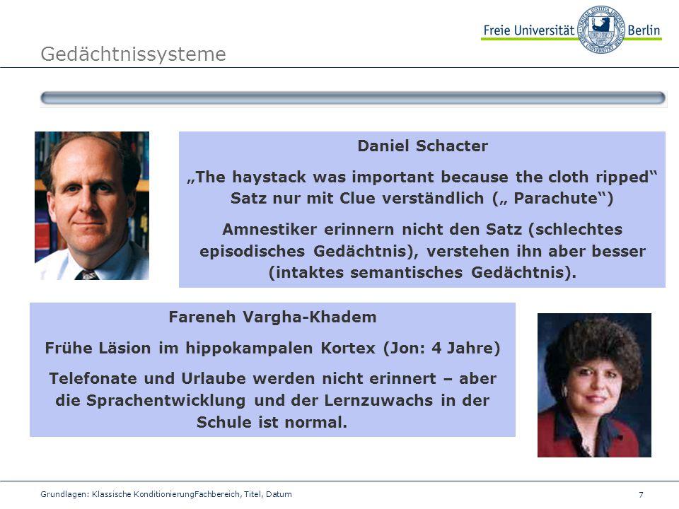 8 Grundlagen: Klassische KonditionierungFachbereich, Titel, Datum Gedächtnissysteme Dissoziation der Gedächtnissysteme Scheinbar gibt es einen kritischen neuroanatomischen Bereich, der abhängig für die Bildung von episodischen Inhalten ist.
