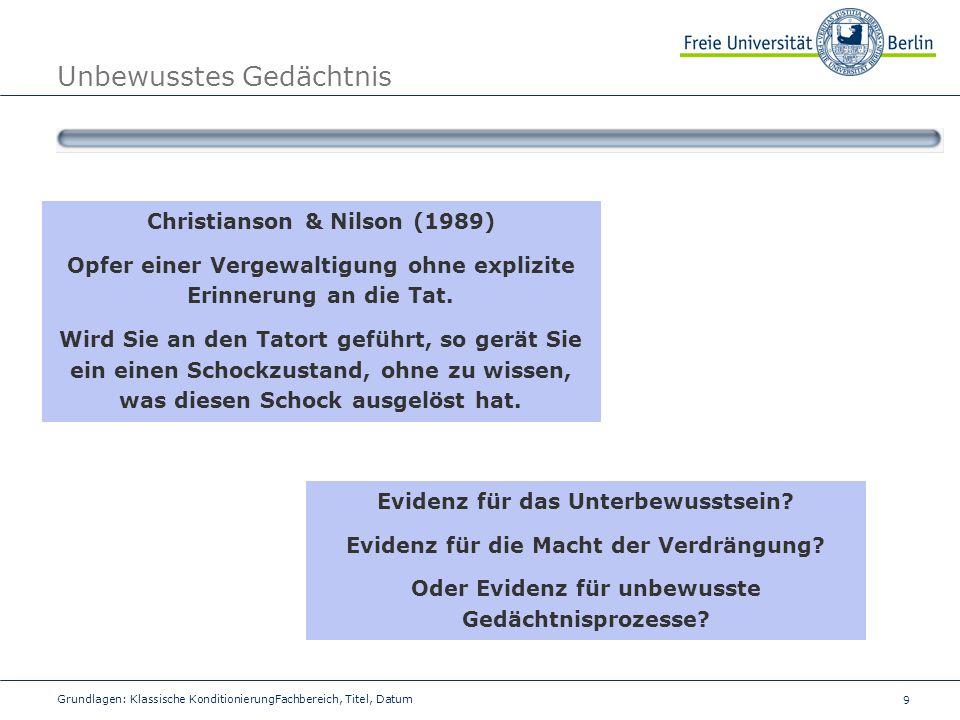 9 Grundlagen: Klassische KonditionierungFachbereich, Titel, Datum Unbewusstes Gedächtnis Christianson & Nilson (1989) Opfer einer Vergewaltigung ohne