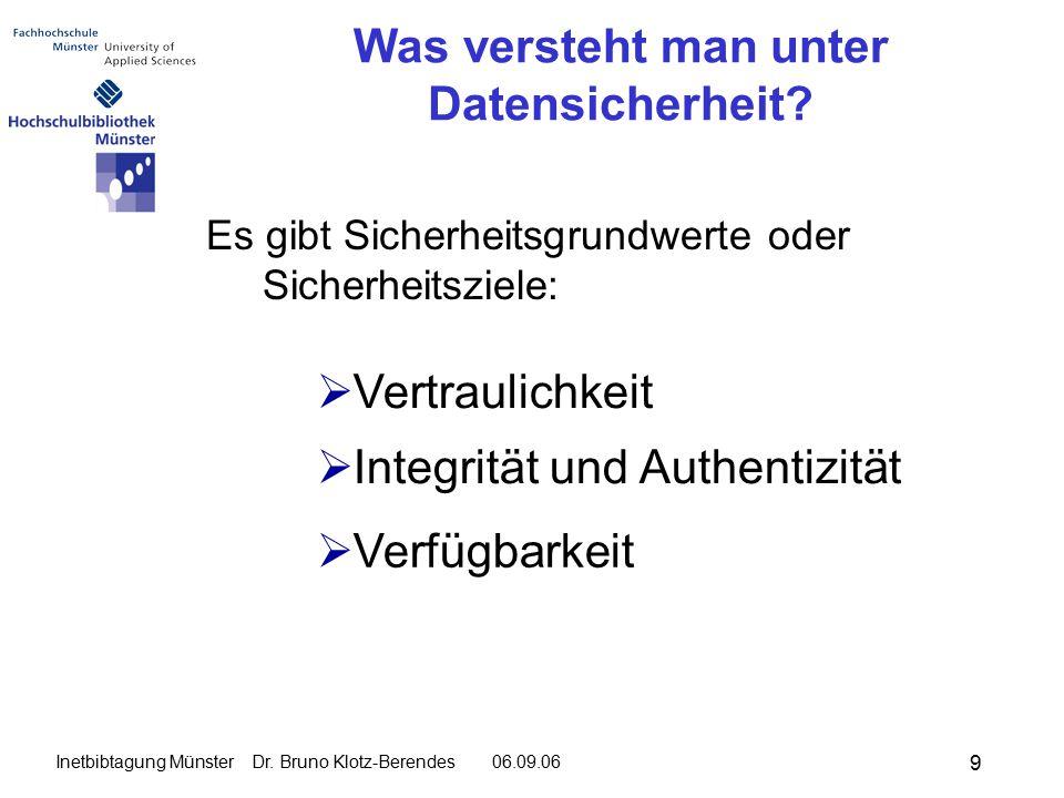 9 Inetbibtagung Münster Dr. Bruno Klotz-Berendes 06.09.06 Was versteht man unter Datensicherheit.