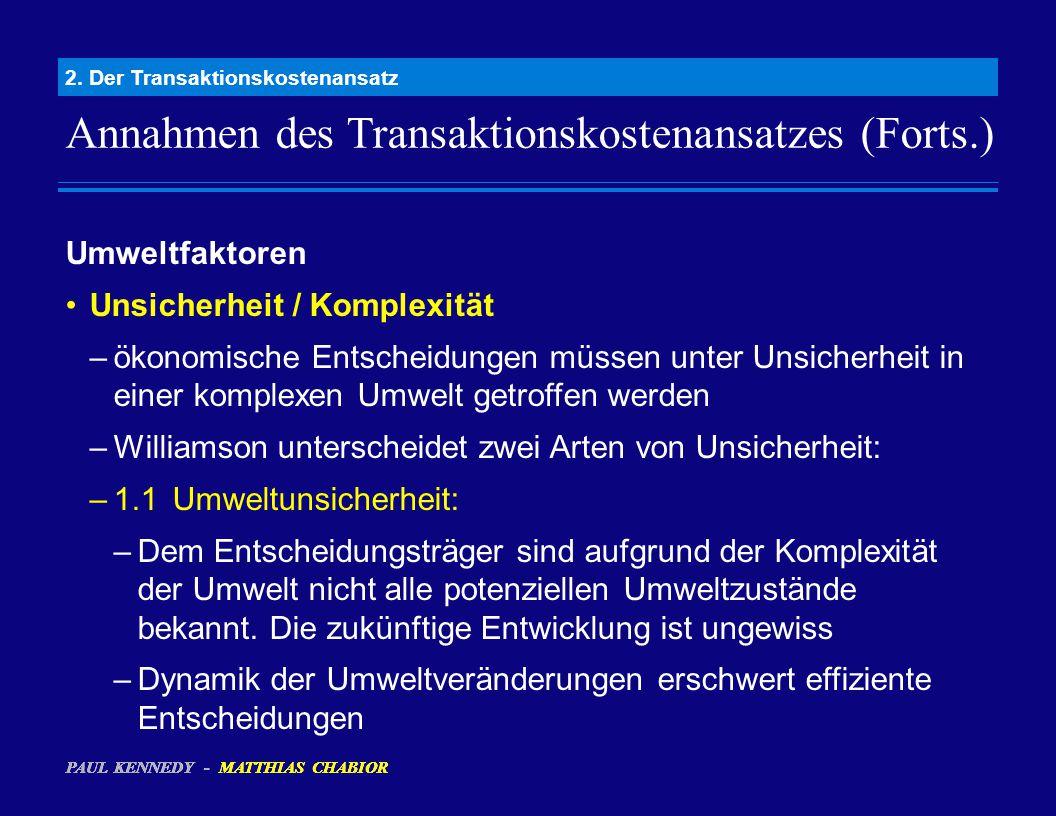 Annahmen des Transaktionskostenansatzes (Forts.) 2. Der Transaktionskostenansatz Umweltfaktoren Unsicherheit / Komplexität –ökonomische Entscheidungen