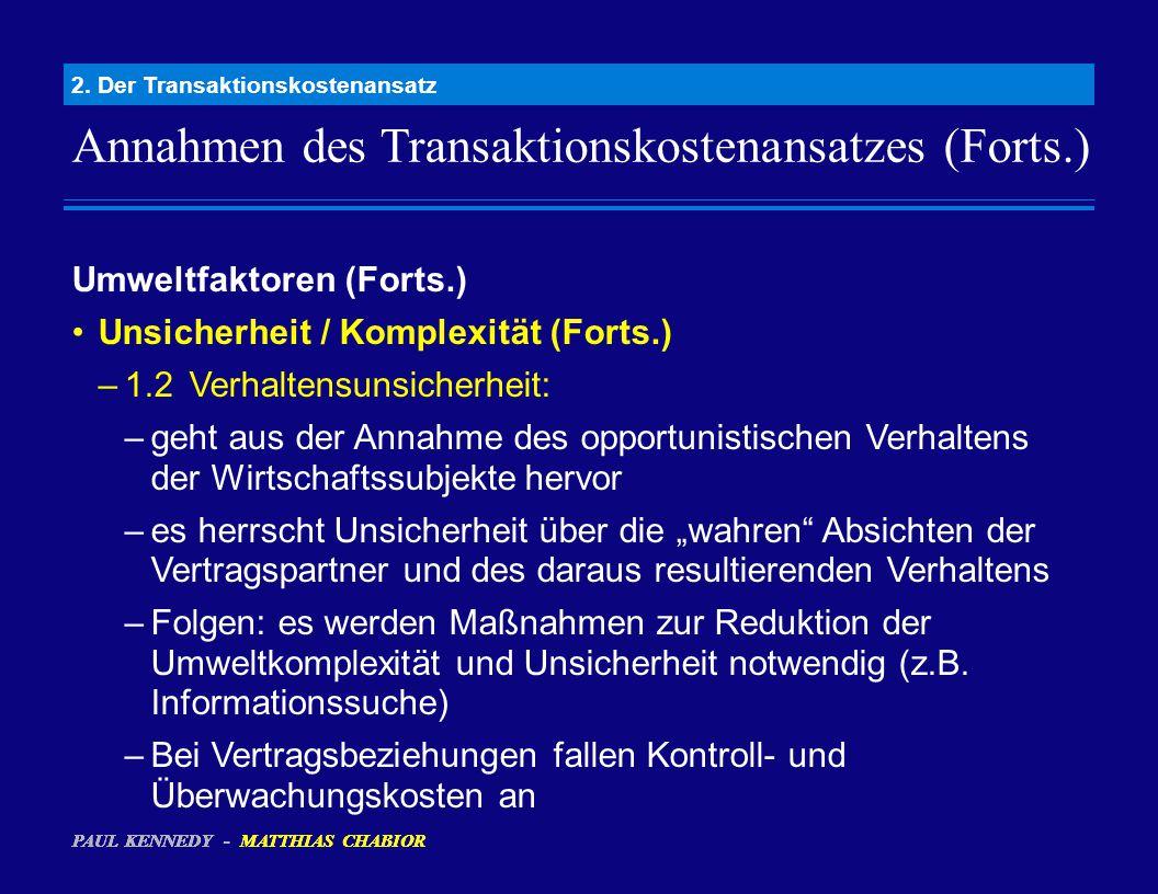Annahmen des Transaktionskostenansatzes (Forts.) 2. Der Transaktionskostenansatz Umweltfaktoren (Forts.) Unsicherheit / Komplexität (Forts.) –1.2Verha