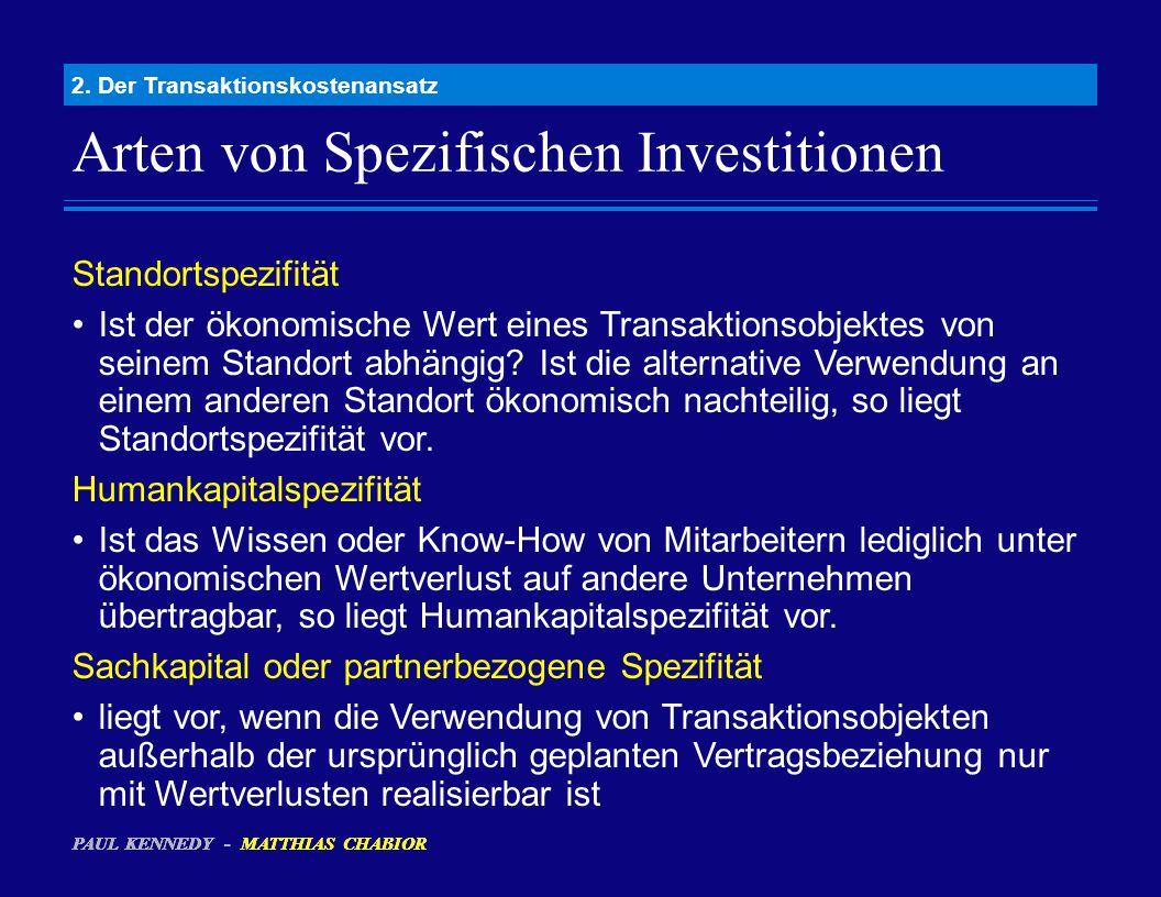 Arten von Spezifischen Investitionen 2. Der Transaktionskostenansatz Standortspezifität Ist der ökonomische Wert eines Transaktionsobjektes von seinem