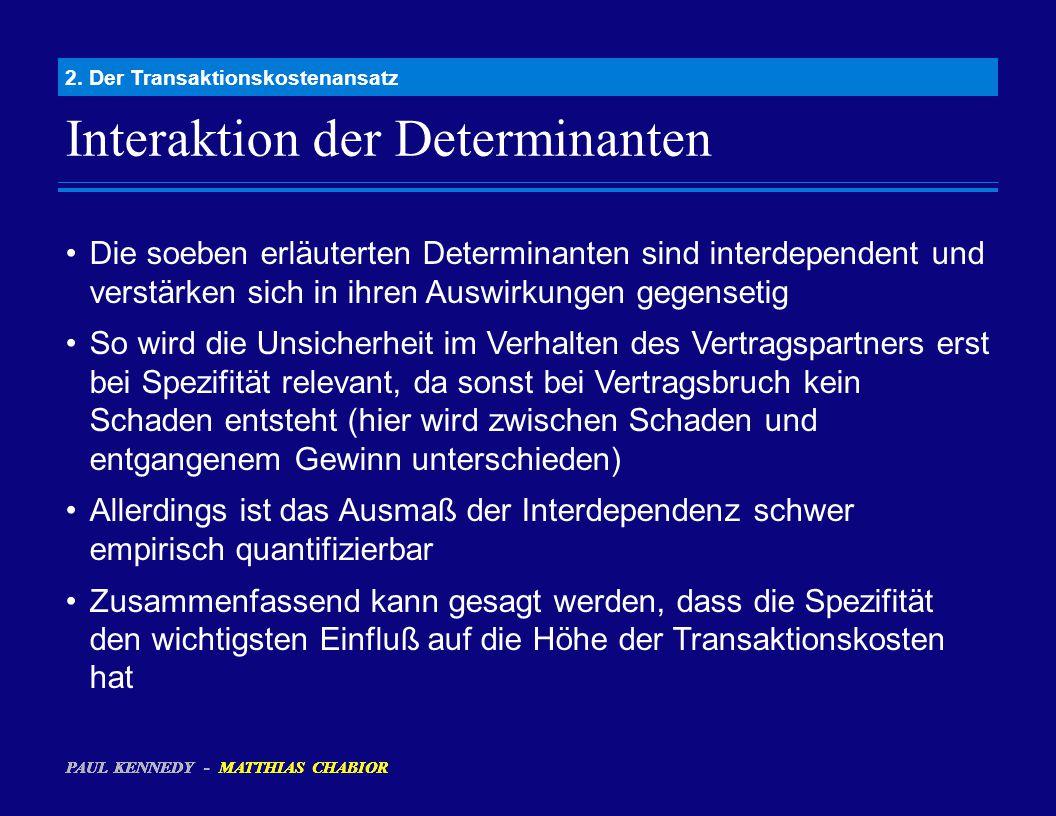 Interaktion der Determinanten 2. Der Transaktionskostenansatz Die soeben erläuterten Determinanten sind interdependent und verstärken sich in ihren Au