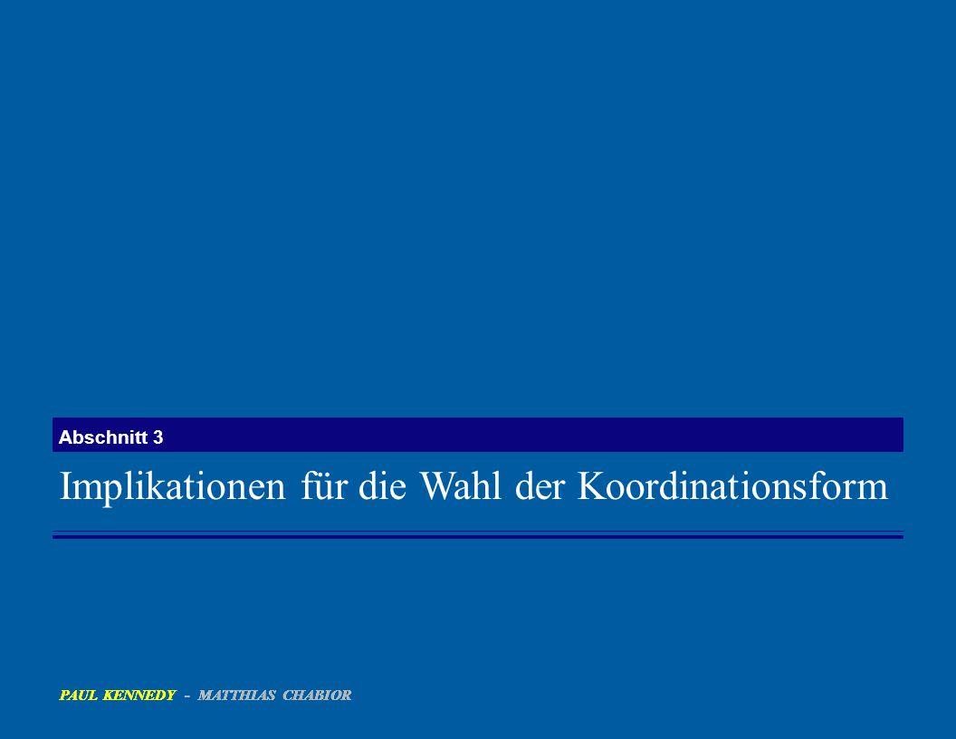 Implikationen für die Wahl der Koordinationsform Abschnitt 3 PAUL KENNEDY - MATTHIAS CHABIOR