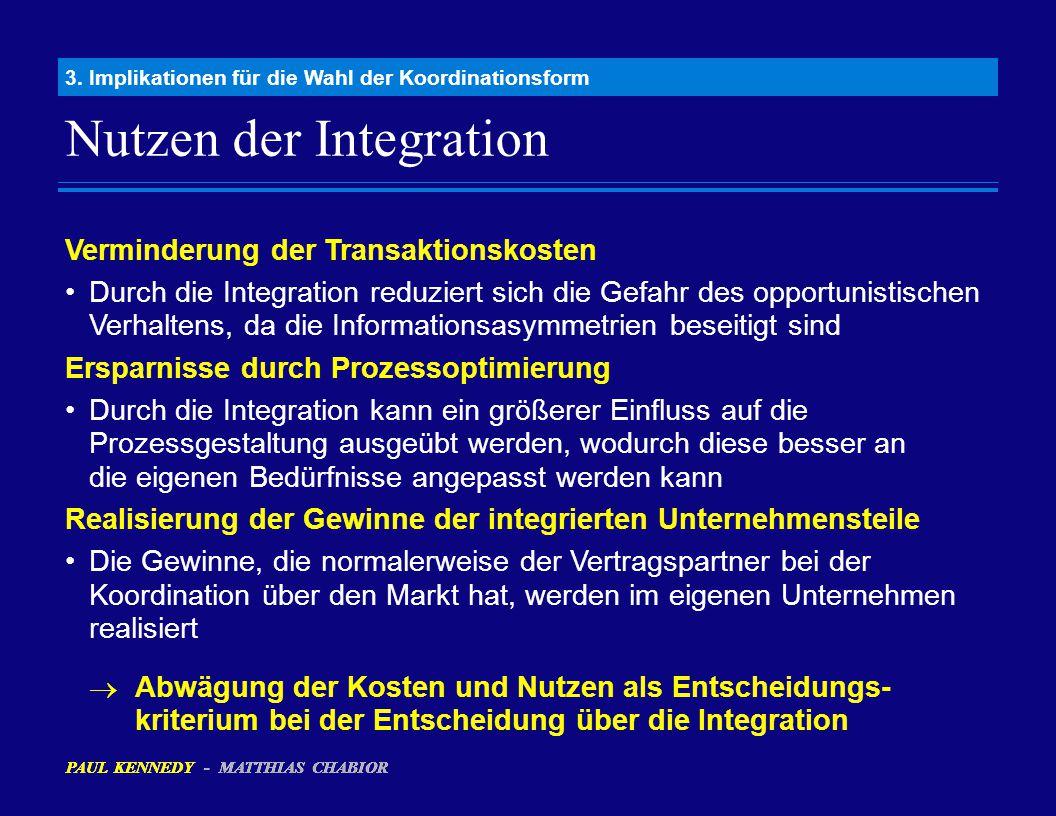 PAUL KENNEDY - MATTHIAS CHABIOR Nutzen der Integration 3. Implikationen für die Wahl der Koordinationsform PAUL KENNEDY - MATTHIAS CHABIOR Verminderun
