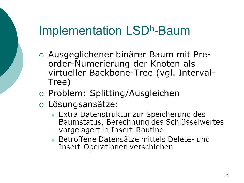 21 Implementation LSD h -Baum  Ausgeglichener binärer Baum mit Pre- order-Numerierung der Knoten als virtueller Backbone-Tree (vgl.
