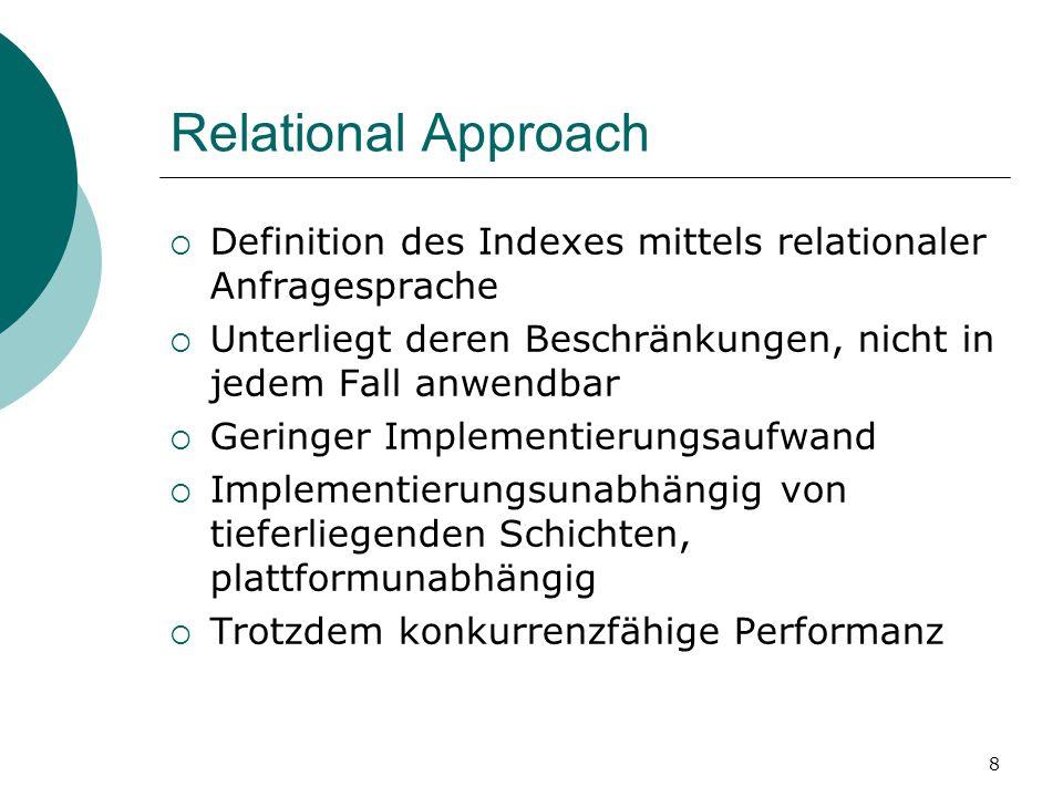 8 Relational Approach  Definition des Indexes mittels relationaler Anfragesprache  Unterliegt deren Beschränkungen, nicht in jedem Fall anwendbar  Geringer Implementierungsaufwand  Implementierungsunabhängig von tieferliegenden Schichten, plattformunabhängig  Trotzdem konkurrenzfähige Performanz