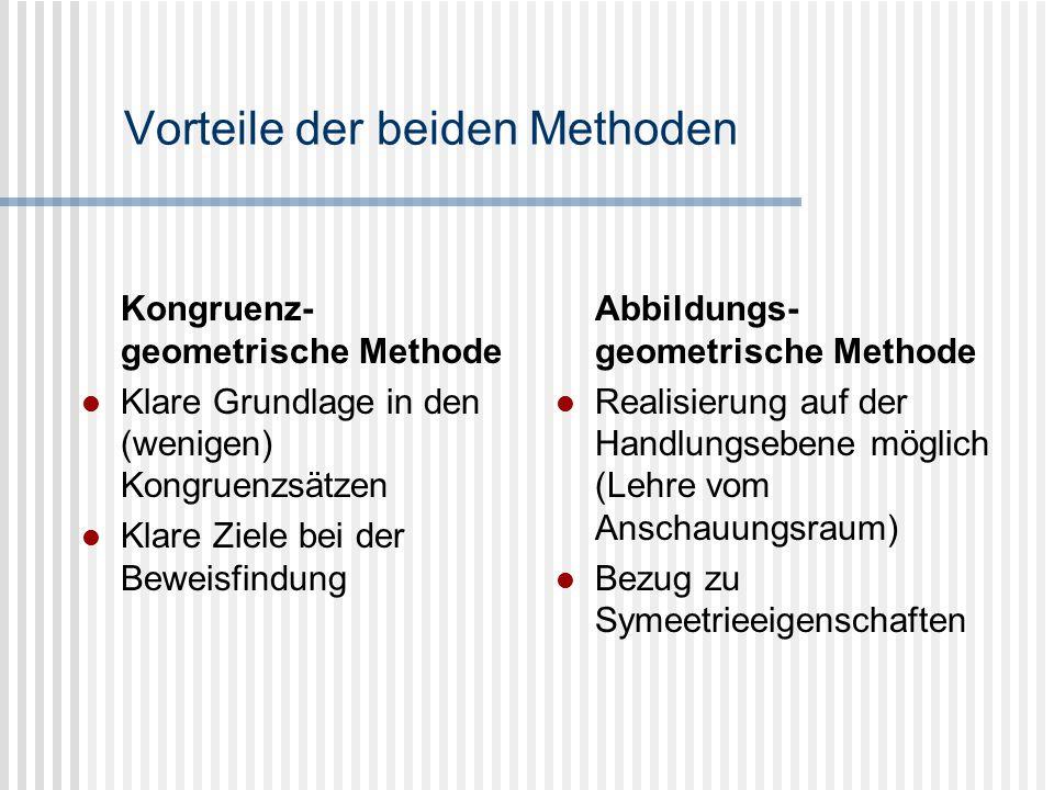 Vorteile der beiden Methoden Kongruenz- geometrische Methode Klare Grundlage in den (wenigen) Kongruenzsätzen Klare Ziele bei der Beweisfindung Abbild