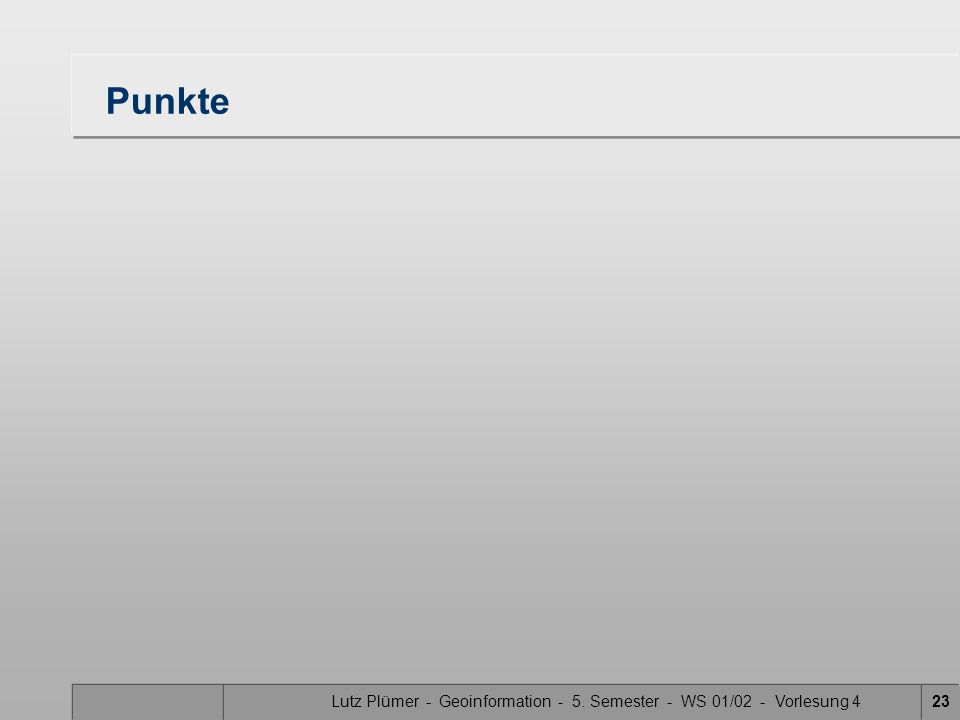 Lutz Plümer - Geoinformation - 5. Semester - WS 01/02 - Vorlesung 423 Punkte