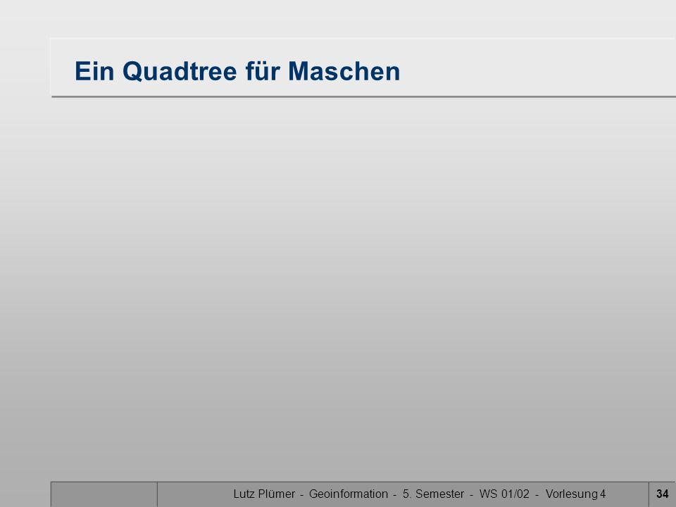Lutz Plümer - Geoinformation - 5. Semester - WS 01/02 - Vorlesung 434 Ein Quadtree für Maschen