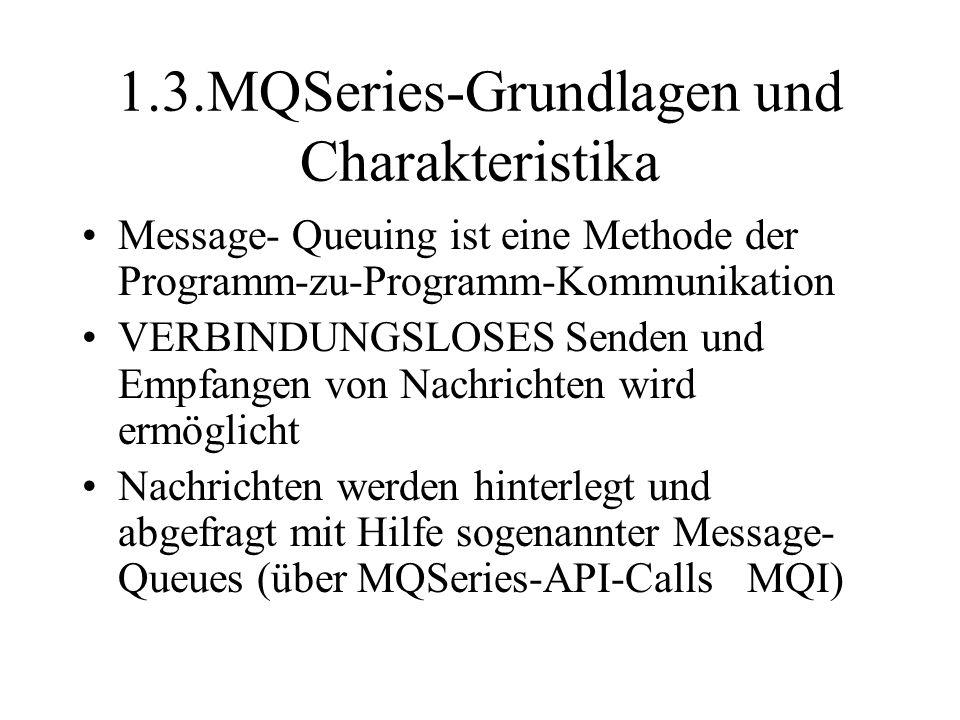 1.3.MQSeries-Grundlagen und Charakteristika Message- Queuing ist eine Methode der Programm-zu-Programm-Kommunikation VERBINDUNGSLOSES Senden und Empfangen von Nachrichten wird ermöglicht Nachrichten werden hinterlegt und abgefragt mit Hilfe sogenannter Message- Queues (über MQSeries-API-Calls MQI)
