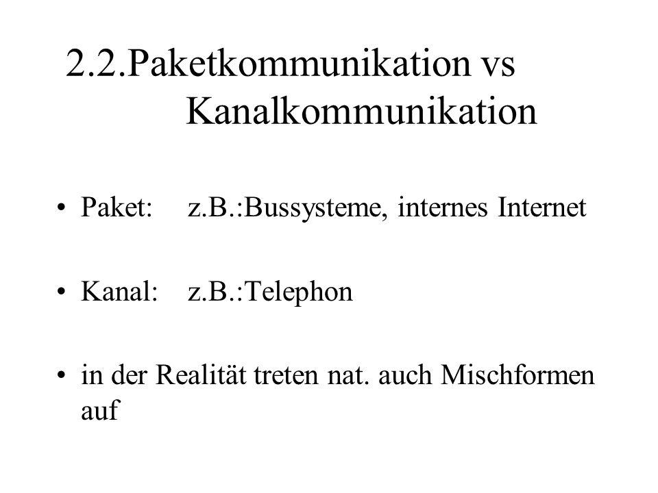 2.2.Paketkommunikation vs Kanalkommunikation Paket:z.B.:Bussysteme, internes Internet Kanal:z.B.:Telephon in der Realität treten nat.