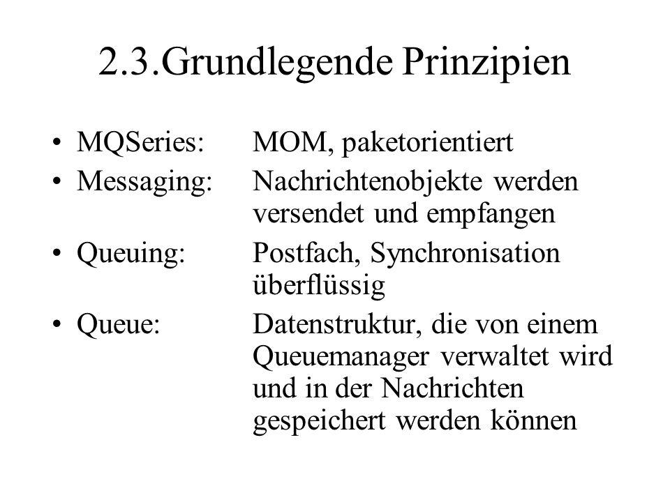 2.3.Grundlegende Prinzipien MQSeries:MOM, paketorientiert Messaging:Nachrichtenobjekte werden versendet und empfangen Queuing:Postfach, Synchronisation überflüssig Queue:Datenstruktur, die von einem Queuemanager verwaltet wird und in der Nachrichten gespeichert werden können