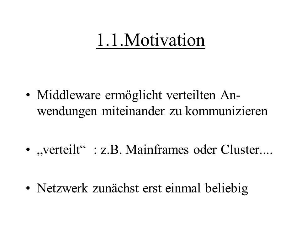 """1.1.Motivation Middleware ermöglicht verteilten An- wendungen miteinander zu kommunizieren """"verteilt"""" : z.B. Mainframes oder Cluster.... Netzwerk zunä"""