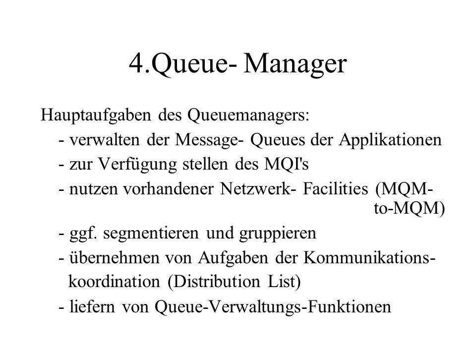 4.Queue- Manager Hauptaufgaben des Queuemanagers: - verwalten der Message- Queues der Applikationen - zur Verfügung stellen des MQI s - nutzen vorhandener Netzwerk- Facilities (MQM- to-MQM) - ggf.