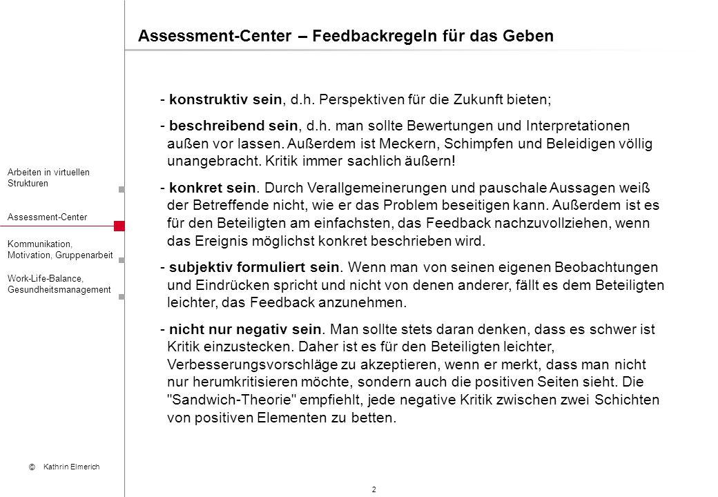 3 Arbeiten in virtuellen Strukturen Assessment-Center Kommunikation, Motivation, Gruppenarbeit © Kathrin Elmerich Work-Life-Balance, Gesundheitsmanagement Assessment-Center – Feedbackregeln für das Nehmen - den anderen ausreden lassen.