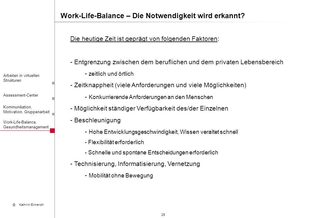 25 Arbeiten in virtuellen Strukturen Assessment-Center Kommunikation, Motivation, Gruppenarbeit © Kathrin Elmerich Work-Life-Balance, Gesundheitsmanag