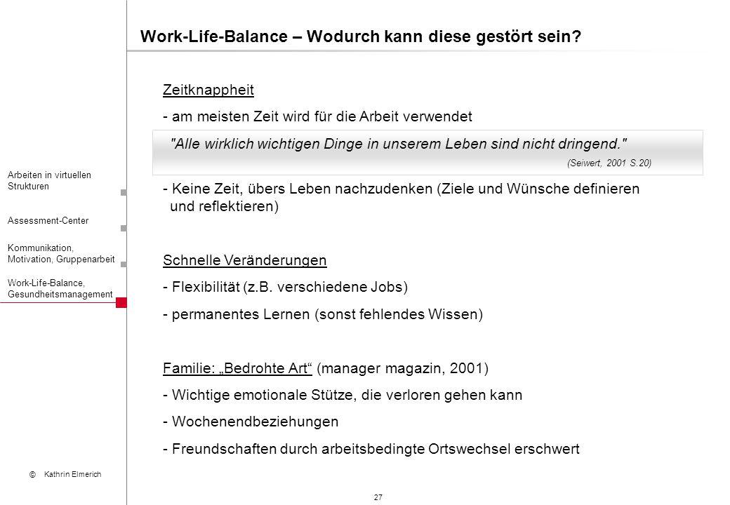 27 Arbeiten in virtuellen Strukturen Assessment-Center Kommunikation, Motivation, Gruppenarbeit © Kathrin Elmerich Work-Life-Balance, Gesundheitsmanag