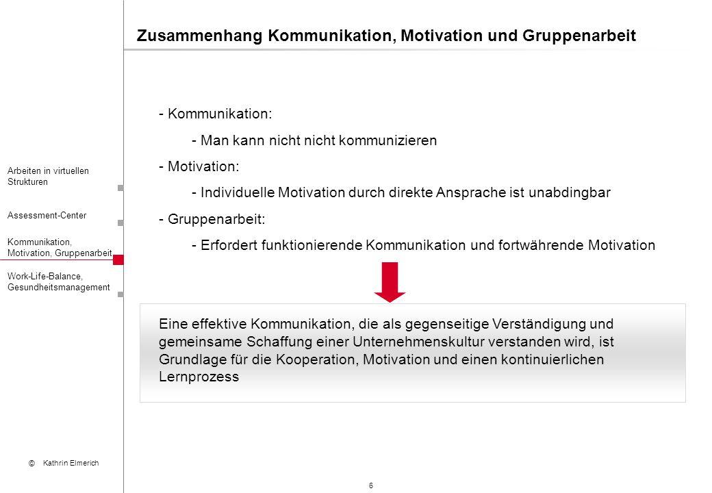 """7 Arbeiten in virtuellen Strukturen Assessment-Center Kommunikation, Motivation, Gruppenarbeit © Kathrin Elmerich Work-Life-Balance, Gesundheitsmanagement Kommunikation – Definitionen (II) """"Austausch von Informationen zwischen Menschen und/oder Maschinen (Rahn, 2002, S."""