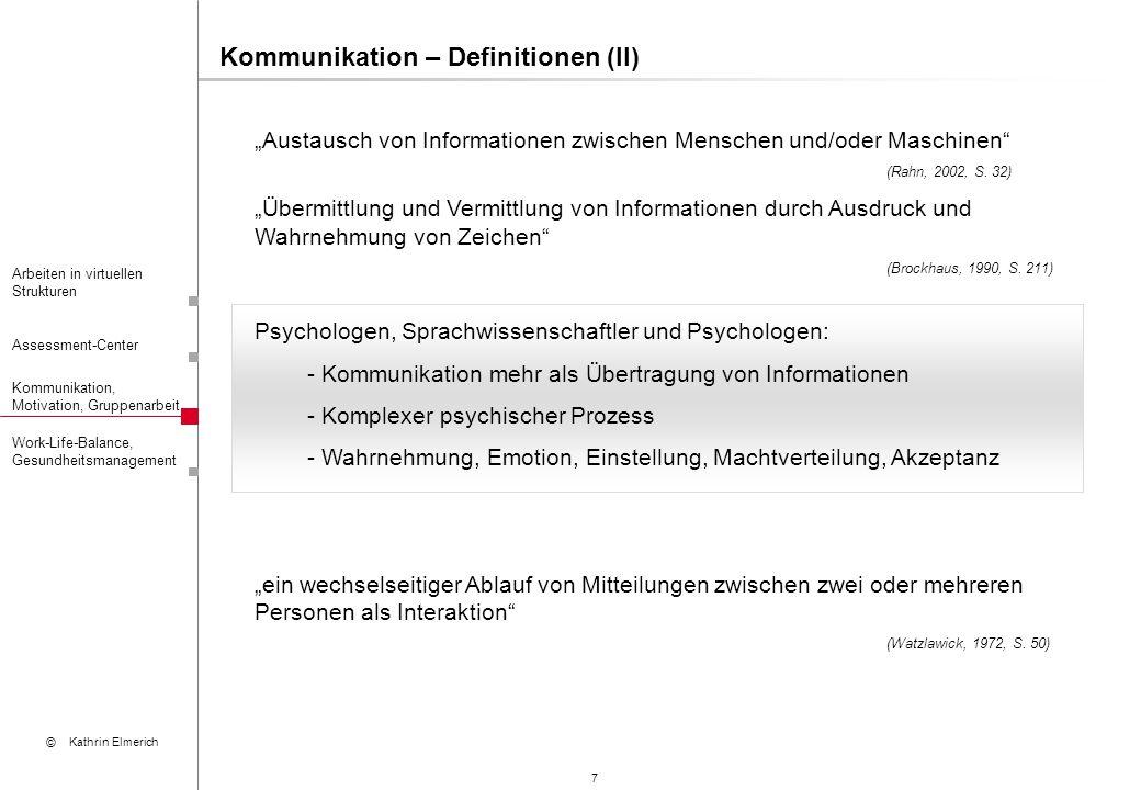 """18 Arbeiten in virtuellen Strukturen Assessment-Center Kommunikation, Motivation, Gruppenarbeit © Kathrin Elmerich Work-Life-Balance, Gesundheitsmanagement Gruppenarbeit – Entwicklung und Leistung (I) Gruppenbildung: 1.Formierung 2.Strukturbildung 3.Normierungsphase 4.Arbeitsphase 5.Auflösung 12 6 6 3 3 """"Forming Testphase Nahkampfphase """"Storming """"Performing Verschmelzungsphase Organisationsphase """"Norming Quelle: Francis/Young, 1982 9 9"""