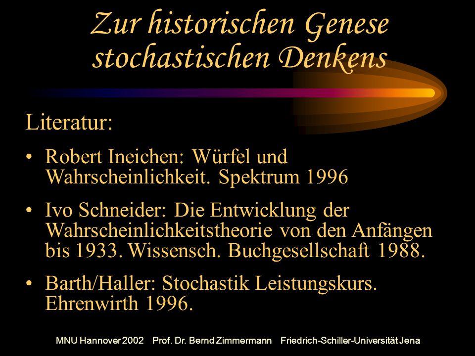 MNU Hannover 2002 Prof.Dr. Bernd Zimmermann Friedrich-Schiller-Universität Jena Aufstellen u.