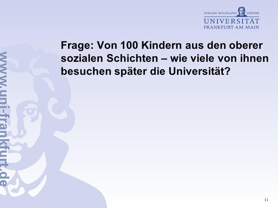 11 Frage: Von 100 Kindern aus den oberer sozialen Schichten – wie viele von ihnen besuchen später die Universität?