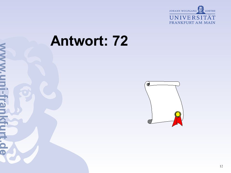 12 Antwort: 72