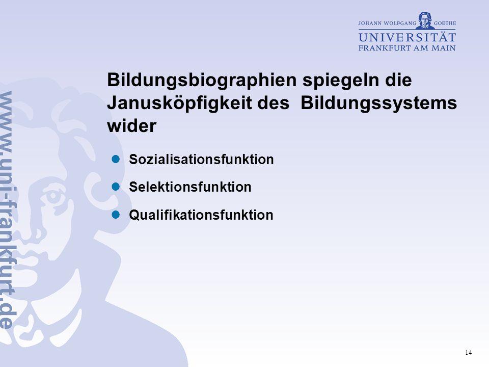 14 Bildungsbiographien spiegeln die Janusköpfigkeit des Bildungssystems wider Sozialisationsfunktion Selektionsfunktion Qualifikationsfunktion