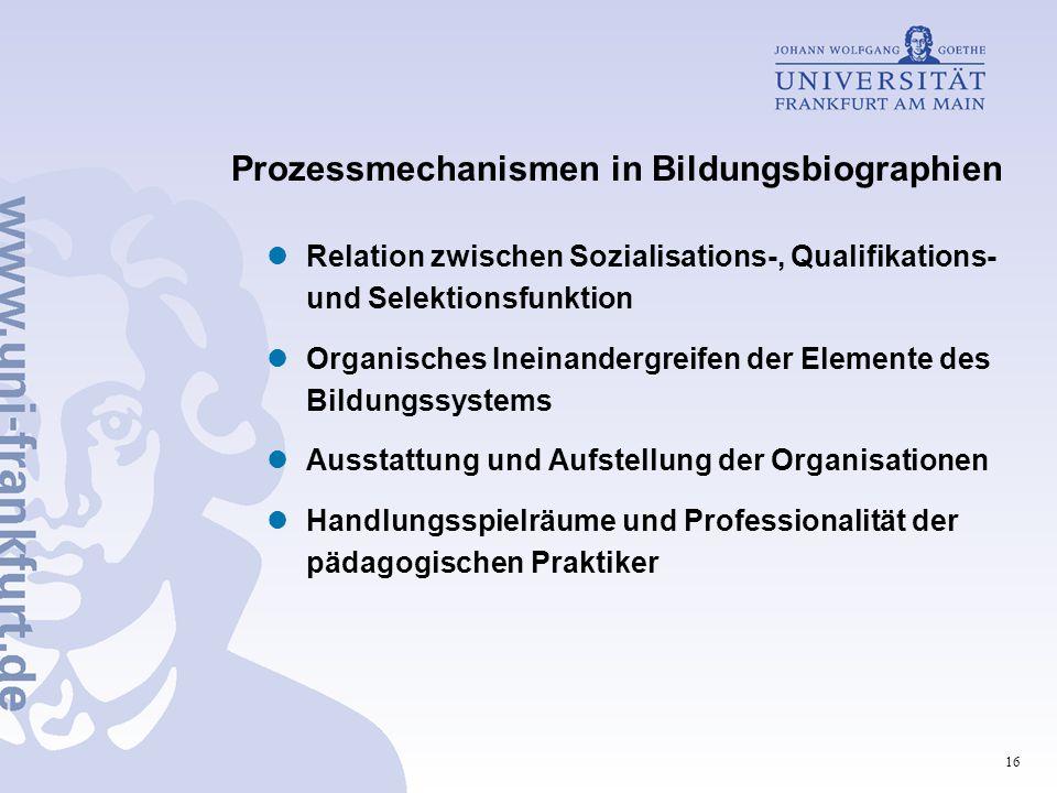 16 Prozessmechanismen in Bildungsbiographien Relation zwischen Sozialisations-, Qualifikations- und Selektionsfunktion Organisches Ineinandergreifen der Elemente des Bildungssystems Ausstattung und Aufstellung der Organisationen Handlungsspielräume und Professionalität der pädagogischen Praktiker