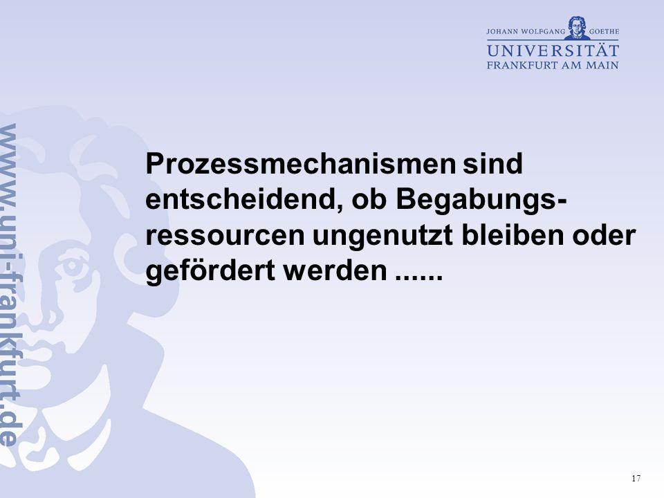 17 Prozessmechanismen sind entscheidend, ob Begabungs- ressourcen ungenutzt bleiben oder gefördert werden......