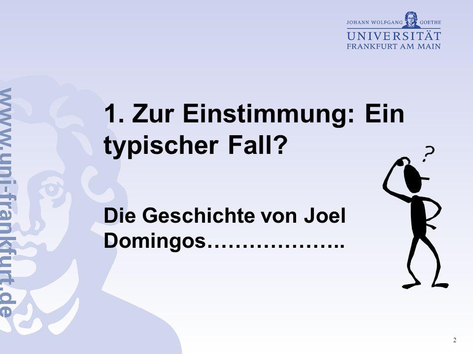2 1. Zur Einstimmung: Ein typischer Fall? Die Geschichte von Joel Domingos………………..
