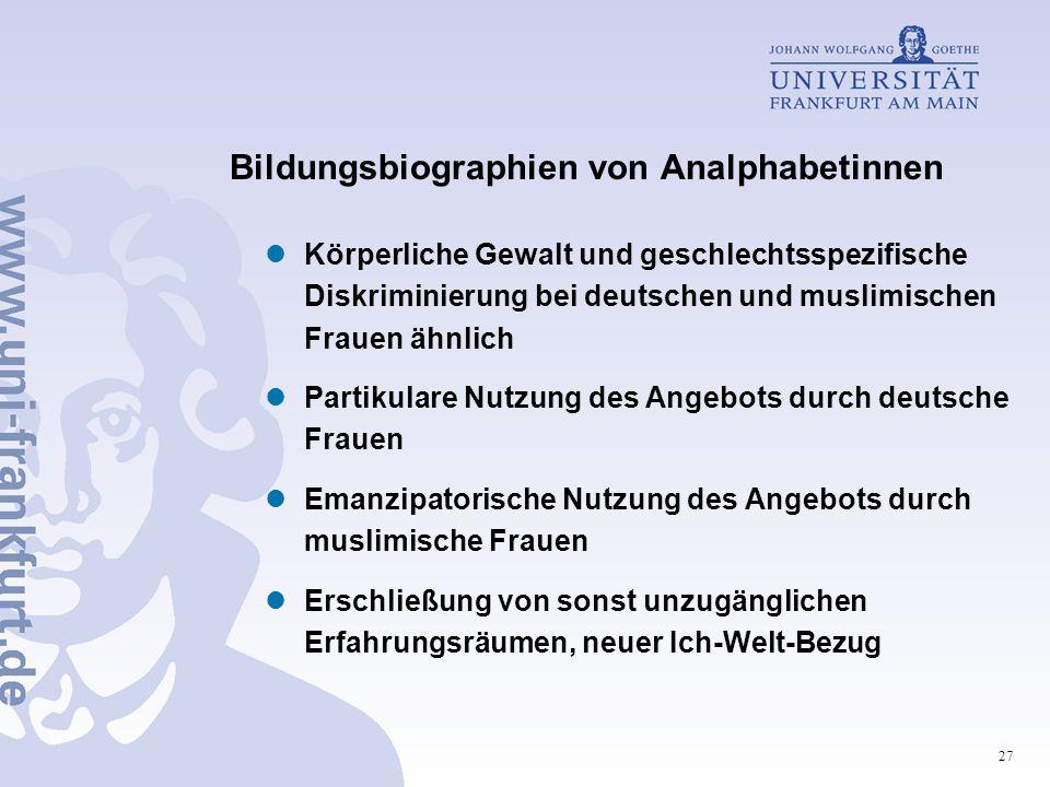 27 Bildungsbiographien von Analphabetinnen Körperliche Gewalt und geschlechtsspezifische Diskriminierung bei deutschen und muslimischen Frauen ähnlich